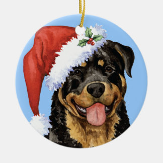 Happy Howliday Rottweiler Round Ceramic Decoration