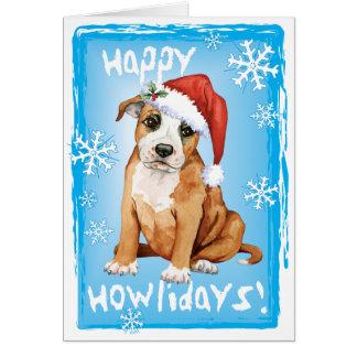 Happy Howliday Staffordshire Bull Terrier Card