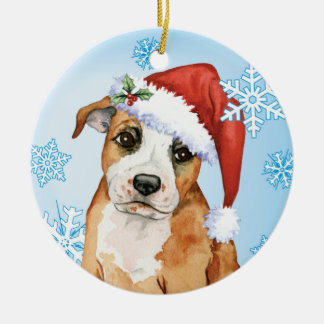 Happy Howliday Staffordshire Bull Terrier Round Ceramic Decoration