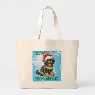 Happy Howliday Tibetan Mastiff Large Tote Bag