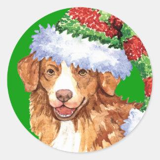 Happy Howliday Toller Round Stickers