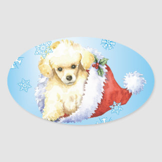 Happy Howliday Toy Poodle Oval Sticker