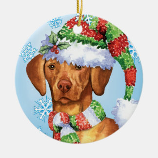 Happy Howliday Vizsla Round Ceramic Decoration