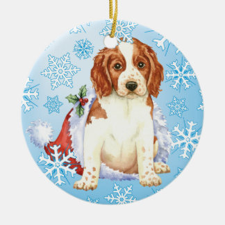 Happy Howliday Welshie Christmas Ornament