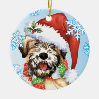 Happy Howliday Wheaten Round Ceramic Decoration