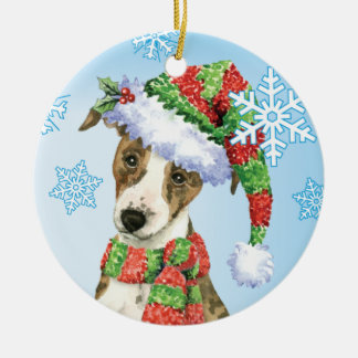 Happy Howliday Whippet Round Ceramic Decoration