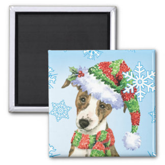 Happy Howliday Whippet Square Magnet
