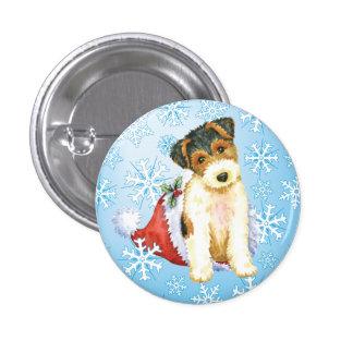 Happy Howliday Wire Fox Terrier 3 Cm Round Badge