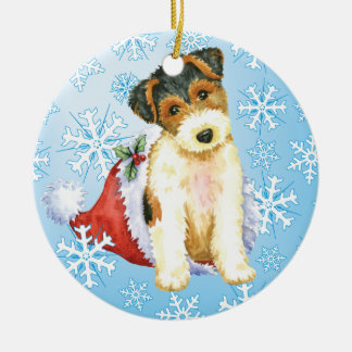 Happy Howliday Wire Fox Terrier Christmas Ornament