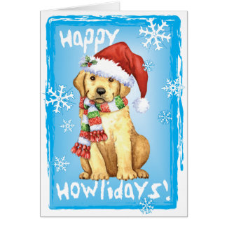 Happy Howliday Yellow Lab Card