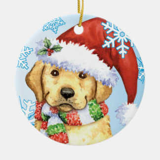 Happy Howliday Yellow Lab Double-Sided Ceramic Round Christmas Ornament