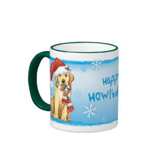 Happy Howliday Yellow Lab Ringer Mug