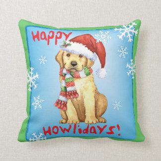 Happy Howliday Yellow Lab Throw Cushion