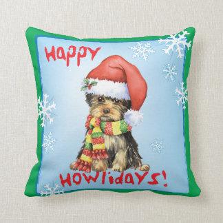 Happy Howliday Yorkie Cushion