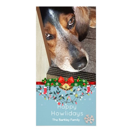Happy Howlidays Beagle Photo Cute Blue Card