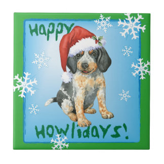 Happy Howlidays Bluetick Small Square Tile
