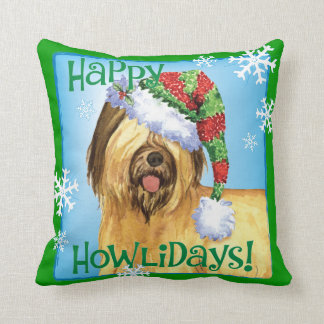 Happy Howlidays Briard Cushion