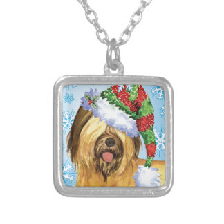 Happy Howlidays Briard Silver Plated Necklace