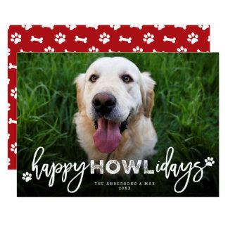 Happy Howlidays Brush Dog Lover Holiday Photo Card