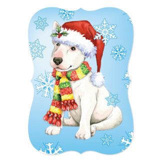 Happy Howlidays Bull Terrier 5x7 Paper Invitation Card