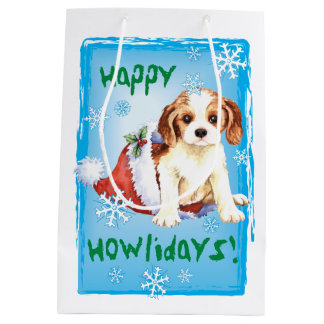 Happy Howlidays Cavalier Medium Gift Bag