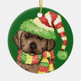 Happy Howlidays Chocolate Lab Christmas Ornament