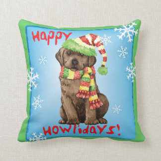 Happy Howlidays Chocolate Lab Cushions