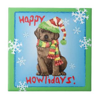 Happy Howlidays Chocolate Lab Ceramic Tile