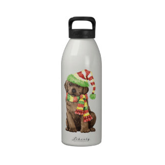 Happy Howlidays Chocolate Lab Reusable Water Bottle