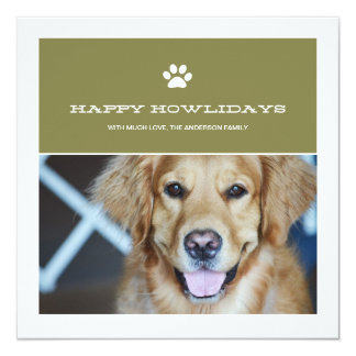 Happy Howlidays Christmas Pet Photo Flat Cards Announcements
