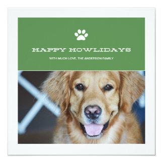 Happy Howlidays Christmas Pet Photo Flat Cards Custom Announcements