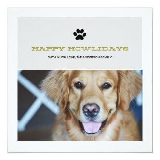 Happy Howlidays Christmas Pet Photo Flat Cards Custom Invite
