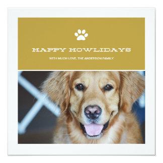 Happy Howlidays Christmas Pet Photo Flat Cards Custom Announcement