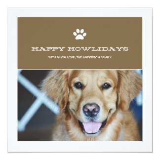 Happy Howlidays Christmas Pet Photo Flat Cards Personalized Invitations