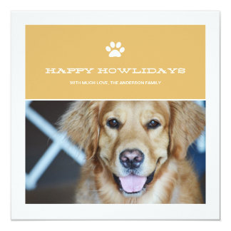 Happy Howlidays Christmas Pet Photo Flat Cards Personalized Invitation