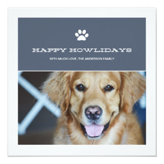 Happy Howlidays Christmas Pet Photo Flat Cards Custom Invites