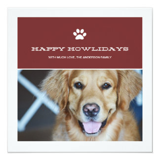 Happy Howlidays Christmas Pet Photo Flat Cards Personalized Announcements