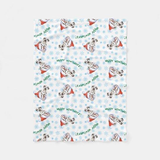 Happy Howlidays Dalmatian Fleece Blanket