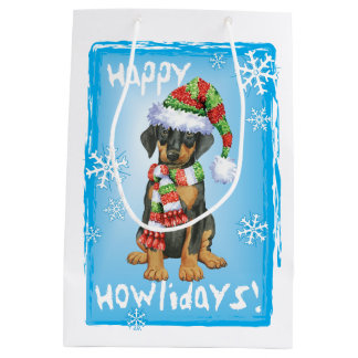Happy Howlidays Doberman Medium Gift Bag