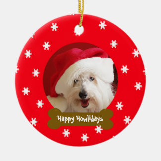 Happy Howlidays Dog Snowflake Christmas Ornament