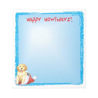 Happy Howlidays Golden Retriever Notepad