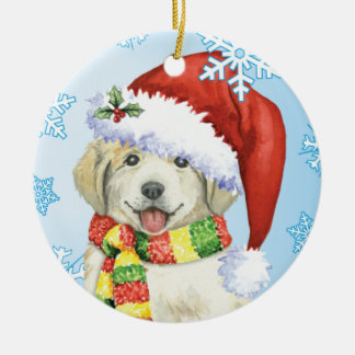 Happy Howlidays Great Pyrenees Round Ceramic Decoration