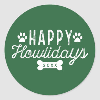 Happy Howlidays | Green Holiday Round Sticker