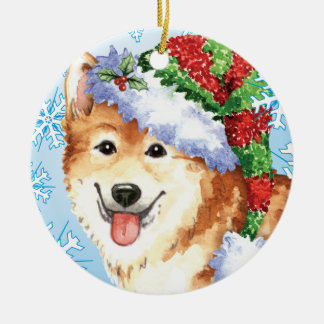 Happy Howlidays Icelandic Sheepdog Christmas Ornament