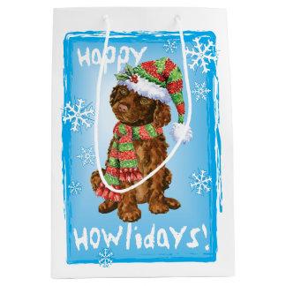 Happy Howlidays Irish Water Spaniel Medium Gift Bag