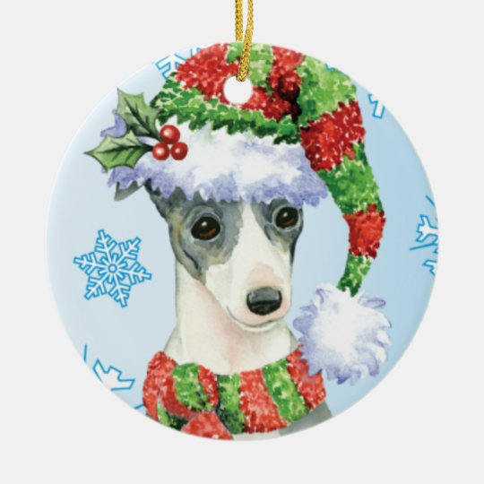 Happy Howlidays Italian Greyhound Christmas Ornament