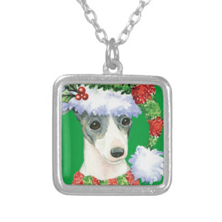 Happy Howlidays Italian Greyhound Silver Plated Necklace