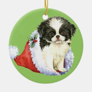 Happy Howlidays Japanese Chin Christmas Ornament