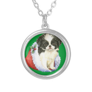 Happy Howlidays Japanese Chin Silver Plated Necklace