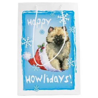 Happy Howlidays Keeshond Medium Gift Bag